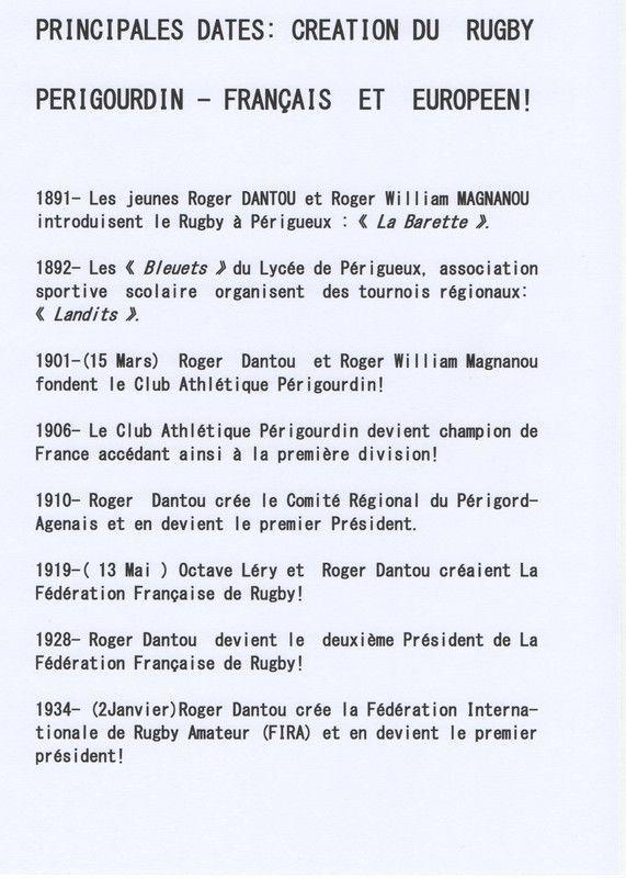 LE RUGBY FRANCAIS ET PERIGOURDIN: SES ORIGINES!